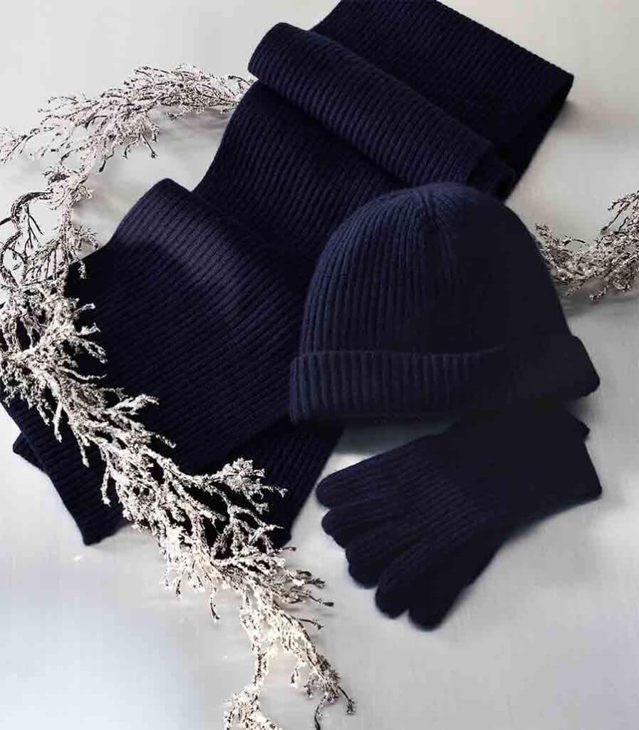 mens black winter beanie and gloves