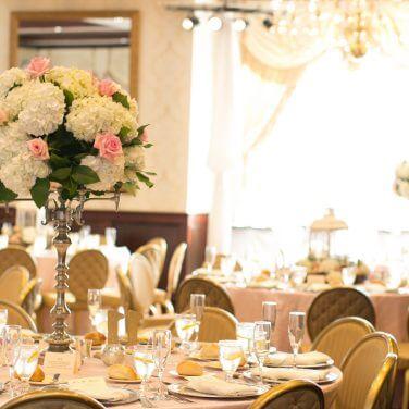 center pieces in the Nassau Inn ballroom
