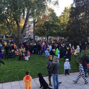 crowd in halloween costumes