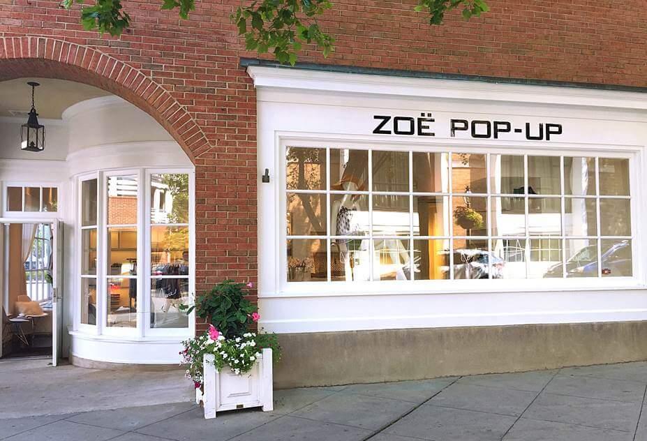 Zoe pop up store front