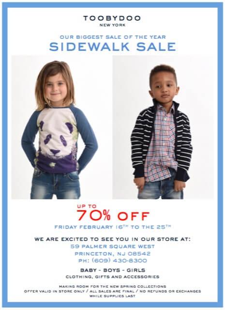 Toobydoo's Sidewalk Sale flyer